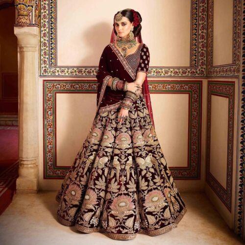 Indian Bollywood Design Wedding Bridal Wear Lehenga Choli Maroon Ghagra Set