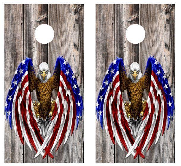 Patriotic American Flag Eagle Cornhole Board Decal Wraps FREE APPL SQUEEGEE