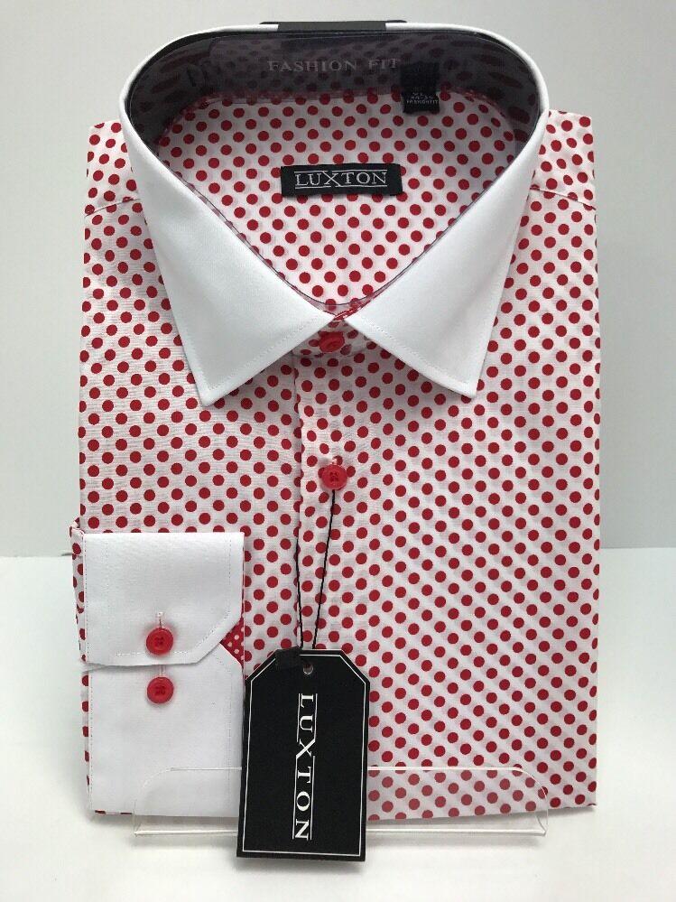Men's Luxton  White Red Fashion Shirt Red Dots White Collar Cuffs Size 19.5