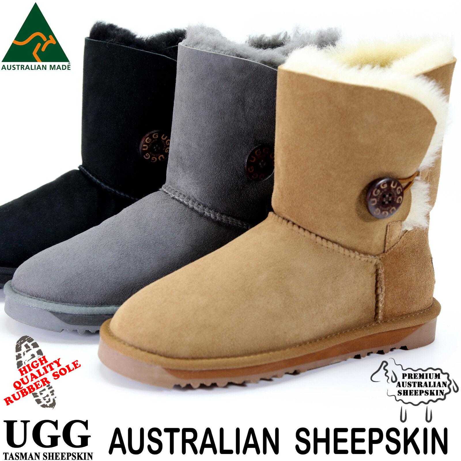 Damen Ugg Boots Australia Classic Bailey Schwarz Kastanie Schaffell Wildleder Uggs