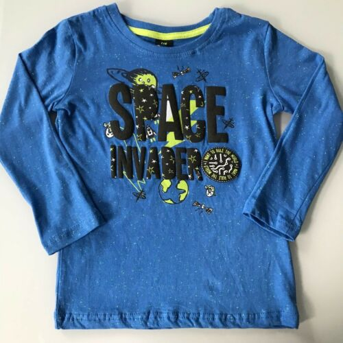 Jungen Kinder T-Shirt Bluse Langarm Blau Space Hemd Cowboy 100/% Baumwolle