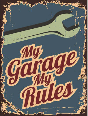 metal sign plaque vintage retro style My garage my rules man cave 20 x 15cm