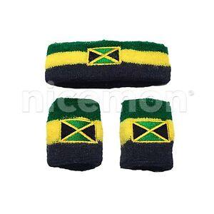 Jamaica Flag Headband Sweatband Wristband Reggae Africa Marley Rastafari RASTA