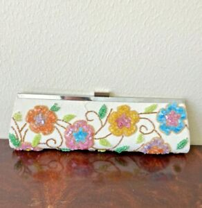 JESSICA-McCLINTOCK-Beaded-Clutch-Purse-Handbag-Multicolor-Flowers-Silver-Clasp