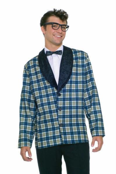 ADULT BUDDY HOLLY 50'S ROCKABILLY PLAID JACKET COSTUME DRESS FM61696