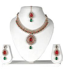 INDIAN BRIDAL GOLD PLATED KUNDAN NECKLACE SET JEWELRY EARRINGS TIKKA