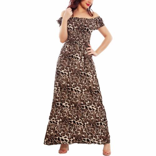 Vestito donna lungo leopardato abito animalier spalle nude leggero TOOCOOL Q143