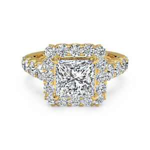 1.75 Ct Princess Moissanite Engagement Superb Ring 18K Solid Yellow Gold Size 9