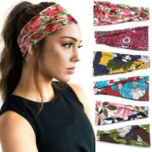 Elastische-Haarbaender-Schweissband-Sport-Yoga-Headwrap-Blumendruck-Stirnband-brei