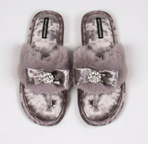 SL720 Slumberzzz Womens//Ladies Toe Post Slippers With Beading Detail