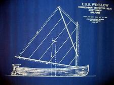 "Vintage Sailboat Dingy Boat Lifeboat 1897 Blue Blueprint Plan 19""x25"" (047)"