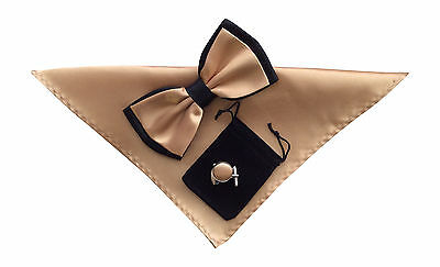 Mens Formal Wedding Evening Bow Tie, Hanky and Cufflinks set Champagne No25