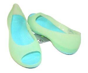 93b7b4c9afce63 Image is loading Crocs-Carlie-Ballet-open-toe-Flats-Translucent-Celery-