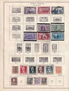 ITALY 6 ALBUM PAGES COLLECTION LOT 66 STAMPS MUCH MINT IN MOUNTS AIR SEMI POSTAL