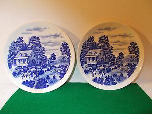 2 Nasco Hand Painted Homestead Japan Plates; House & Wagon Scene