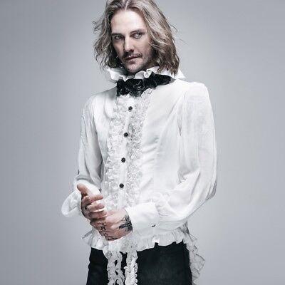 HOT Devil Fashion Mens Gothic Vampire Shirt Top Steampunk Victorian VTG Cosplay