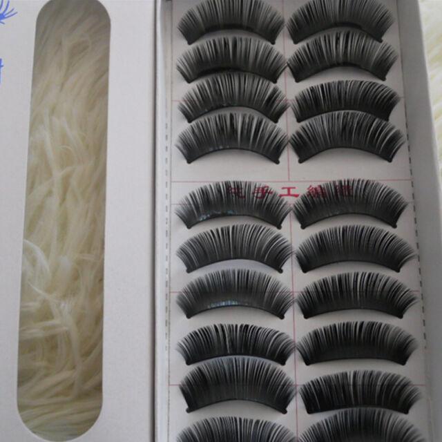 New 10 pairs Long Cross False Eyelashes Makeup Natural Fake Thick Eye Lashes