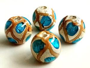 10pcs-handmade-Lampwork-glass-Beads-blue-silver-foil-round-14mm