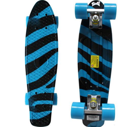 Rimable 22 Inch Mini Cruiser Retro Skateboard BlueZebr Graphic