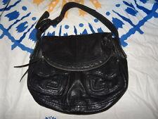 LUCKY BRAND Black Leather Fold Over Stash Bag Nice Cool Bag! HOBO
