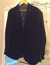 Next black velvet velour pin stripe jacket 44r flap over pockets inside pockets