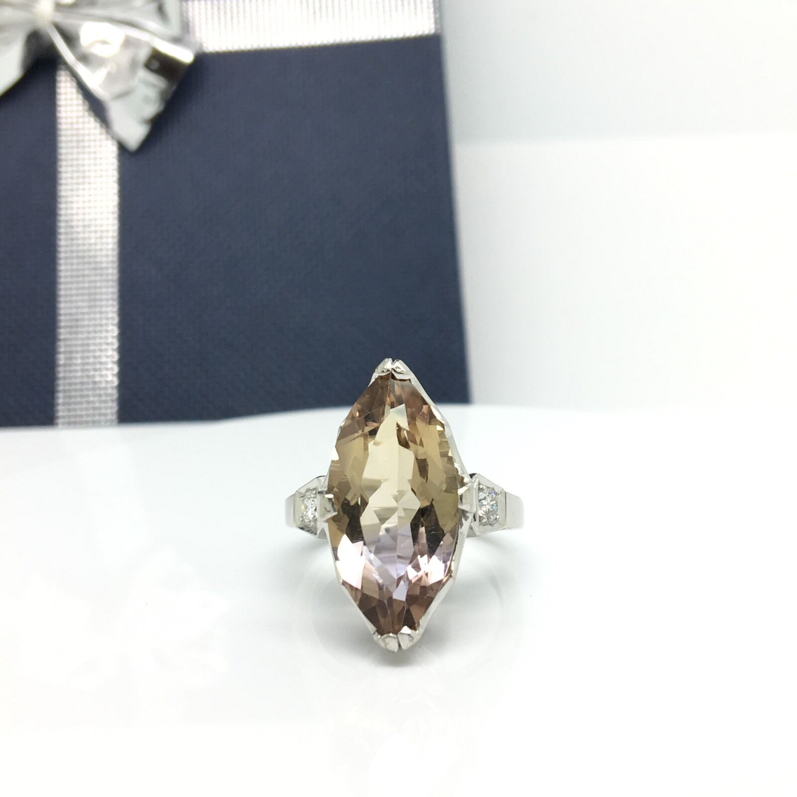 18k White gold Marquise Shape Ametrine And Diamond Ring