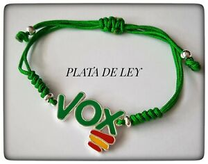 Saludar Noroeste Extraordinario  PULSERA VOX PLATA DE LEY 925 ML PLATA DE LEY VOX ESPAÑA BANDERA COLOR VERDE  | eBay