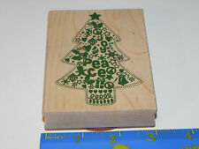 Unknown Brand Rubber Stamp - Holiday ChristmasTree - Joy  Peace Symbol
