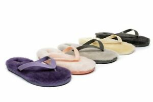 UGG Women Men Sandals Slippers Flip Flop Sigma Fluffy Thong Sheepskin Slides