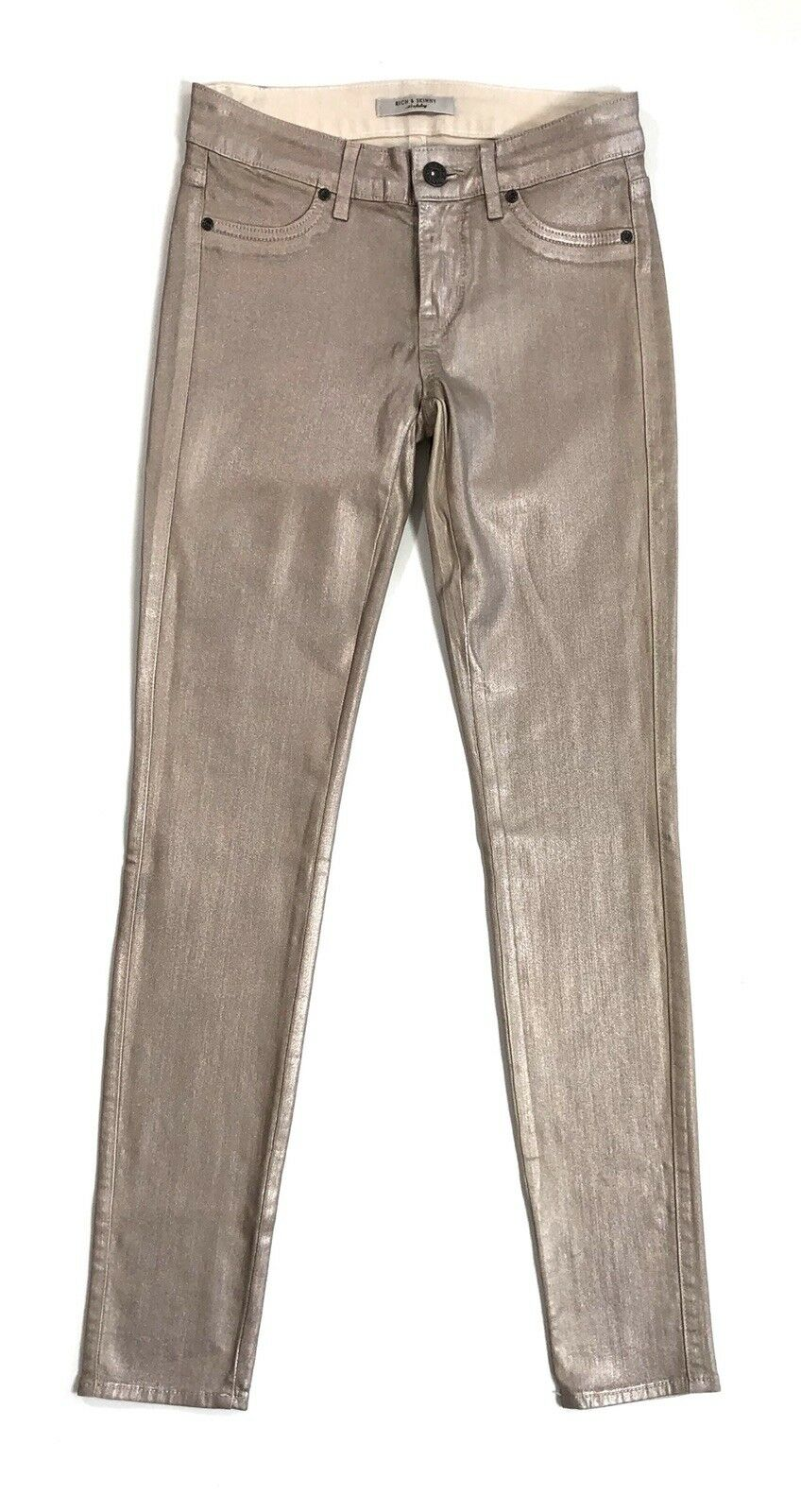 Rich & Skinny size 24 pink gold Coated Stretch Jeans