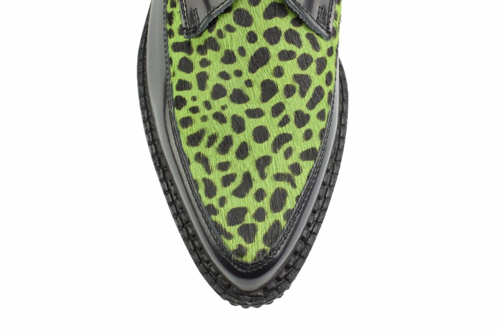 Scarpe DI TERRA IN ACCIAIO NERO PELLE Lime A Leopardato Capelli Creepers Monk Buckle A Lime Punta 66f174