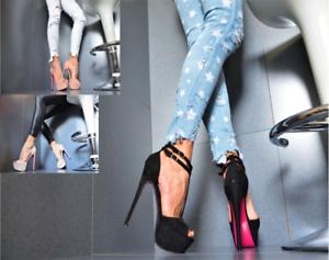 New Designer Ladies' Shoes Peep-Toes High Heels Party Pumps Black, Rosa, Beige