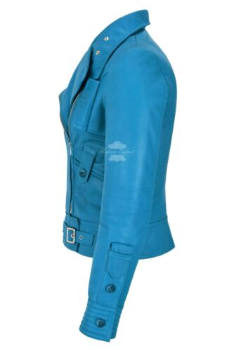 Ladies SUPERMODEL BIKER JACKET Electric Blue Light Soft LEATHER Leather 4110