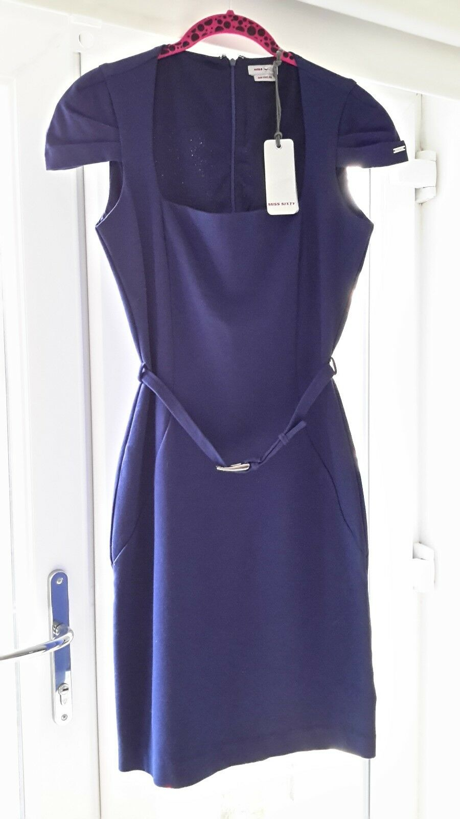 Miss Sixty dress, smart, wiggle, office, size medium, navy bluee, new with tag.