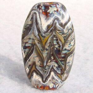HERRINGBONE-Handmade-Art-Glass-Focal-Bead-Flaming-Fools-Lampwork-Art-Glass-SRA