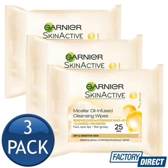 3 x GARNIER SKIN ACTIVE FACIAL WIPES MICELLAR CLEANSING WIPES IN OIL 25 SHEETS
