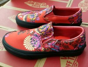 ff71333dc7 VANS CLASSIC SLIP-ON (FESTIVAL SATIN) RED BLACK FLORAL EMBROIDERY ...
