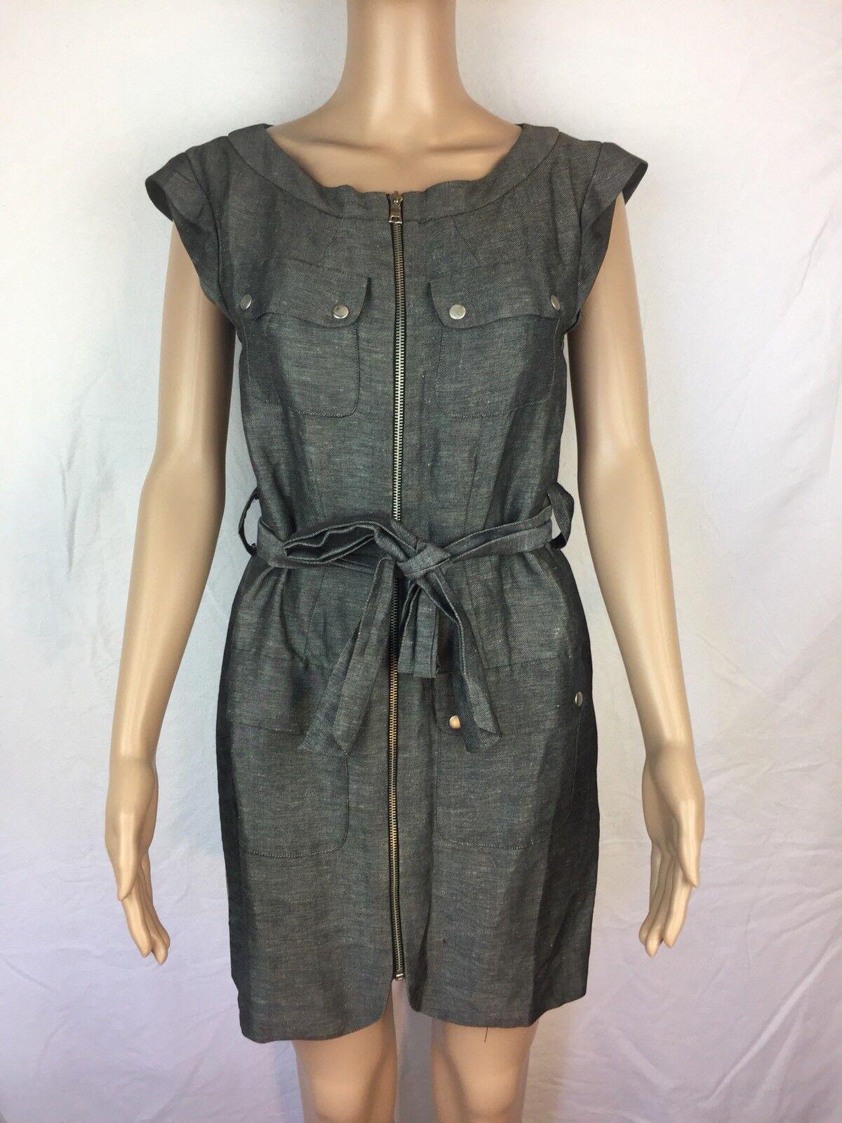 Women's Cynthia Steffe Gray Zip Dress Silk/Linen Blend Belt Size 2 Silver Snaps