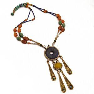 Turquoise-Lapis-Carnelian-Brass-Necklace-19-034-Tibet-Handmade-Gypsy-Bohemian-NB52