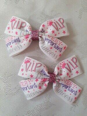 2x Girls Pinwheel Hair Bow Clips Accessories Belle Pink Princess Yellow