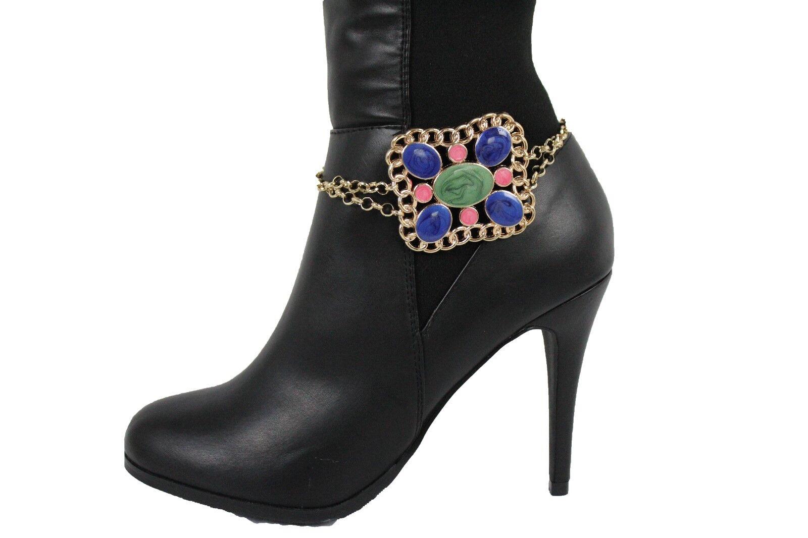 Women Western Fashion Boot Bracelet Gold Metal Chain Shoe Retro 80's Blue Charm