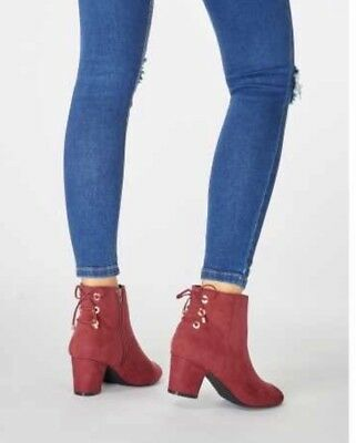 DHW Dorothy Perkins Womens Wide Fit Burgundy Alma Boots Uk Size 5 | eBay
