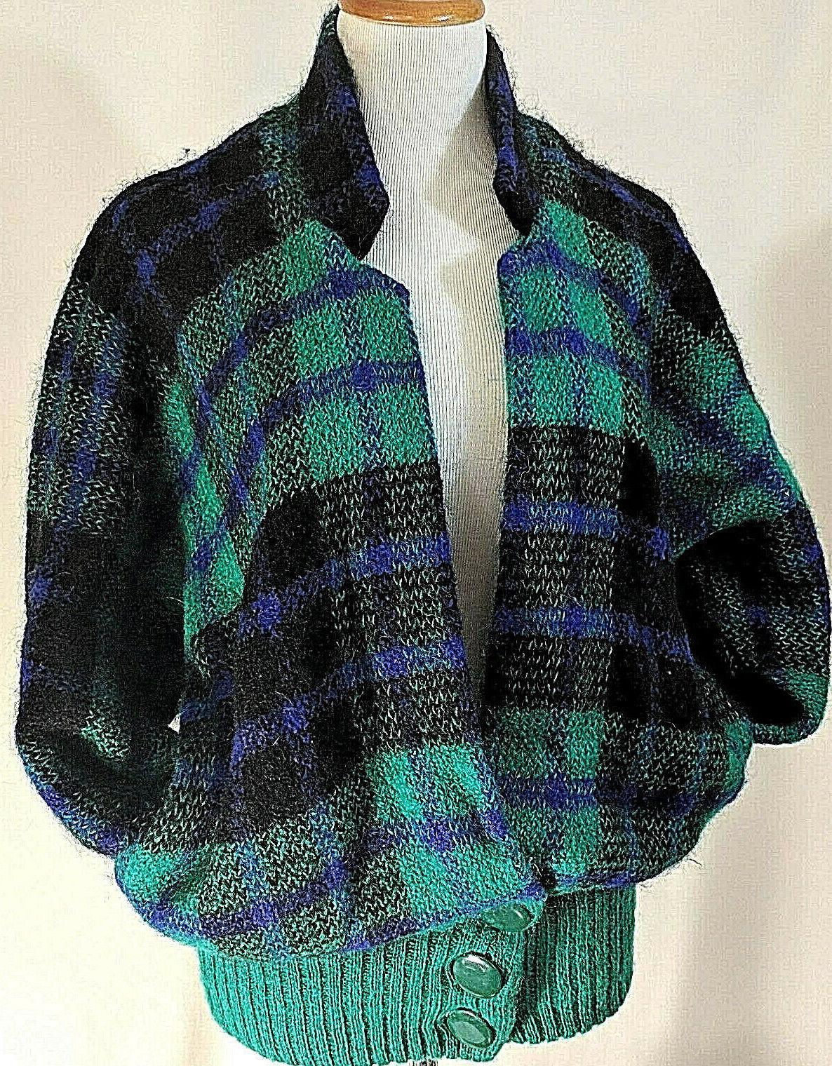 Vintage IB Diffusion Sweater Mohair Blend Plaid 1980s 90s Size M