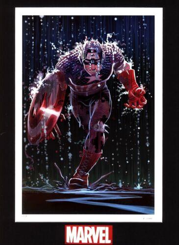 Marvel Comic Book Cover Art Hero Captain America Pouring Rain Artwork Lithograph