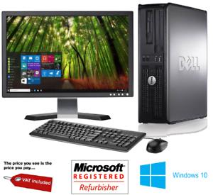 Complet-Dell-Dual-Core-Ordinateur-De-Bureau-Tour-Pc-amp-TFT-Ordinateur-avec-Windows-10-amp-WiFi-amp
