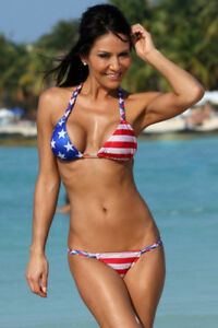 b36c6b11a2 Details about NEW Ujena Swimwear Patriotic USA Red White Blue Stripe Bikini  Top Medium M