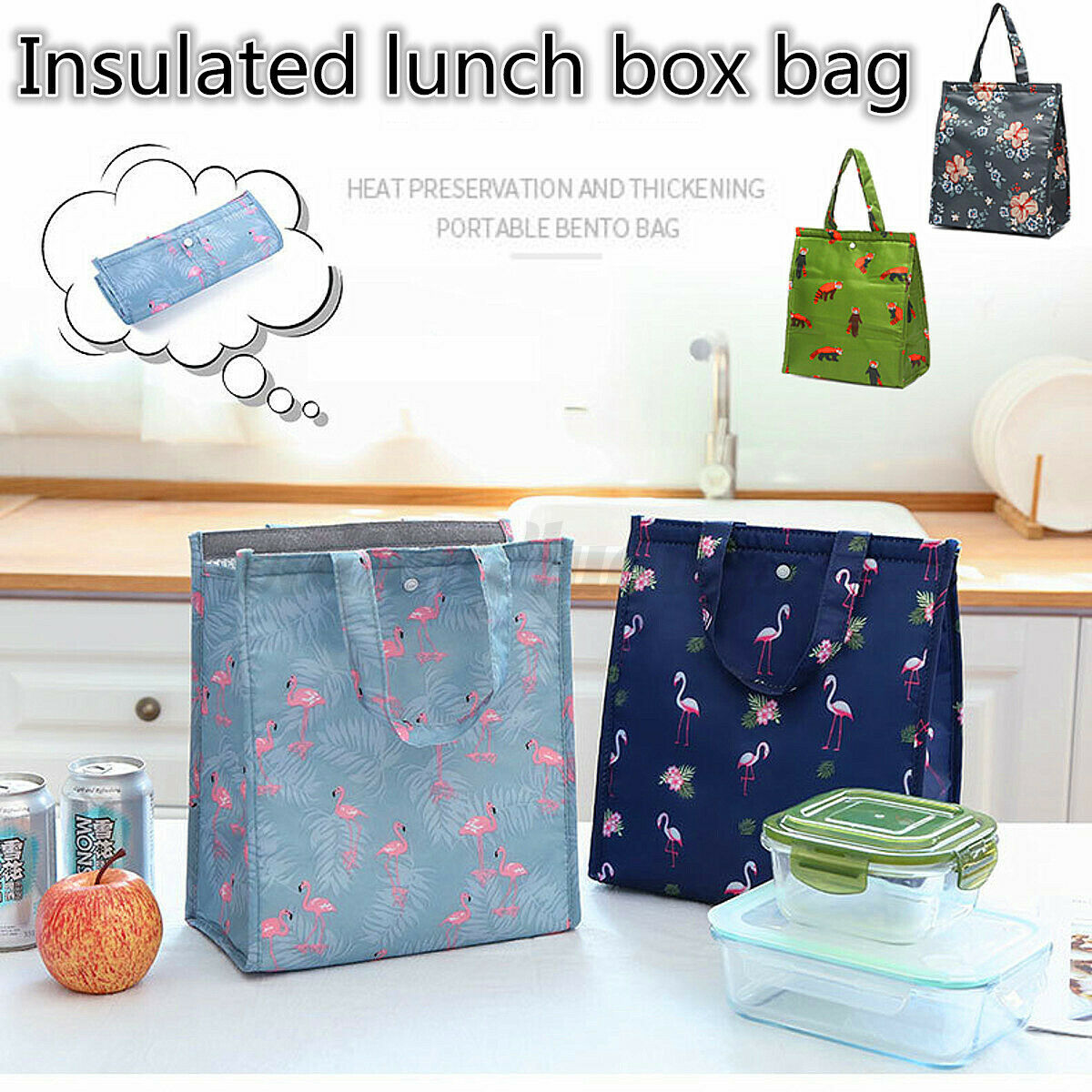 Lunch Bag Insulated Thermal Cooler Portable Carry Tote Picnic Case Storag