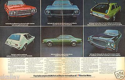 1970 2 Page Print Ad of AMC American Motors Matador Gremlin Javelin Sportabout