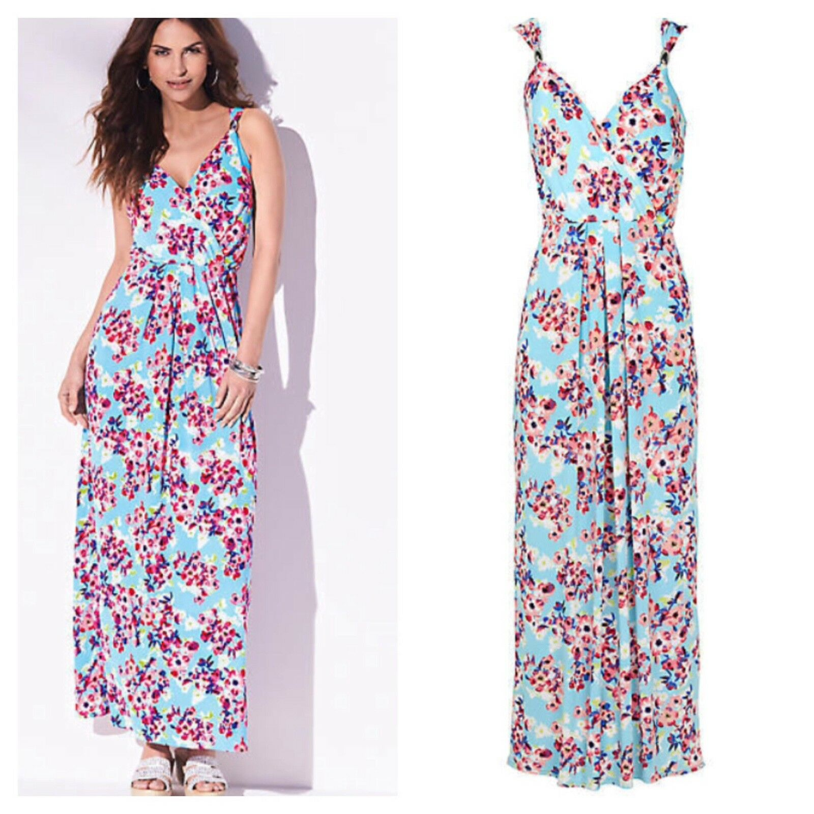 Kaleidoscope Size 10 bluee Multi Floral Print Summer Maxi DRESS Holiday Fab