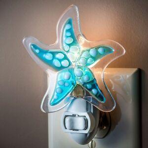 J-Devlin-Glass-Art-Shades-Of-Blue-Fused-Glass-Starfish-Night-Light-NIB